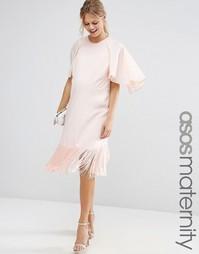 Платье-футболка для беременных с оборкой и рукавами-бабочкой ASOS Mate