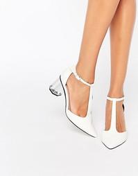 Белые туфли на среднем каблуке Lost Ink Dame - Белый