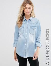 Джинсовая рубашка бойфренда для беременных ASOS Maternity - Синий