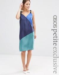 Шелковое платье-сорочка в стиле колор блок ASOS PETITE - Мульти