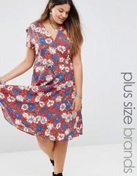 Чайное платье с цветочным принтом Alice & You - Красный