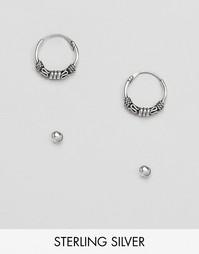 Серебряные серьги-кольца и серьги-гвоздики в форме шара Kinsgley Ryan
