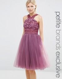 Платье с перекрестным передом, цветочной аппликацией и юбкой из тюля C Chi Chi Petite