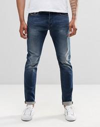 Темные выбеленные джинсы скинни Diesel Tepphar 853R - Темный синий