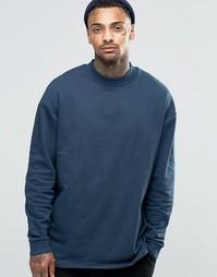Удлиненный oversize‑свитшот с кокеткой сзади ASOS - Темно-синий