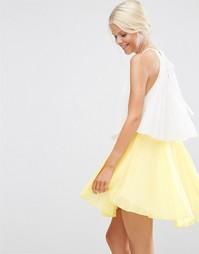 Многоярусное платье мини в стиле колор блок ASOS - Мульти