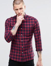 Бордовая облегающая рубашка в клеточку с длинными рукавами ASOS