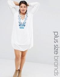 Платье с вышивкой и шнуровкой Missguided Plus - Белый