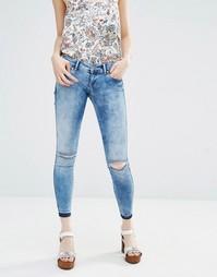 Зауженные джинсы с рваными коленками Only - Синий