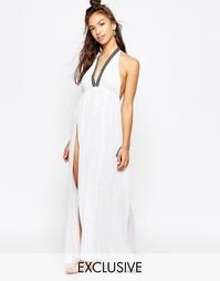 Пляжное платье с разрезом до бедра Wolf & Whistle - Белый