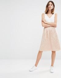 Фактурная юбка миди Vila - Blush