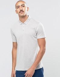 Серая фактурная футболка‑поло ASOS - Серый
