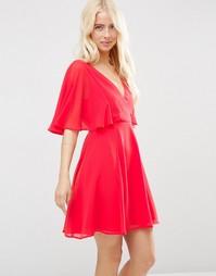 Платье мини с запахом спереди и рукавами-кимоно ASOS - Красный