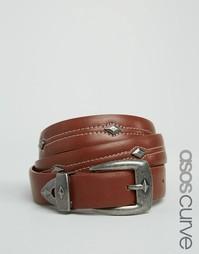 Ремень для джинсов с треугольной отделкой ASOS CURVE - Рыжий