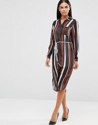 Платье-рубашка миди в полоску с завязкой на талии AX Paris - Мульти