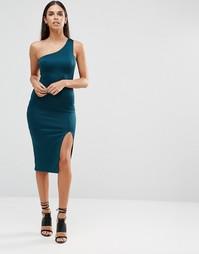 Платье миди на одно плечо с разрезом до бедра AX Paris - Сине-зеленый