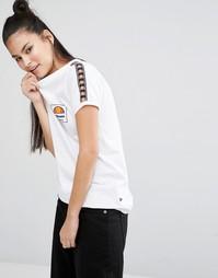 Зауженная футболка в стиле ретро с отделкой лентой Ellesse - Белый