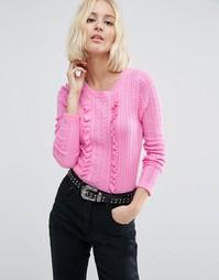 Джемпер с узором косичка и рюшами ASOS - Розовый