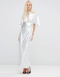 Платье макси с рукавами рюшами Liquorish - Серебряный