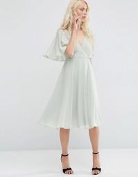 Платье миди с запахом и рукавами-кимоно ASOS - Зеленый шалфей