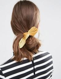Резинка для волос ограниченной серии с бархатным бантиком - Желтый Asos