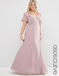 Платье макси с запахом и оборками ASOS CURVE - Сиреневый