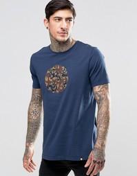 Темно-синяя футболка с камуфляжным принтом и логотипом Pretty Green