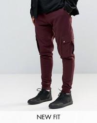Бордовые суженные джоггеры с карманами-карго ASOS - Темно-бордовый
