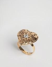Кольцо с медальоном-сердечком ASOS - Античный золотой