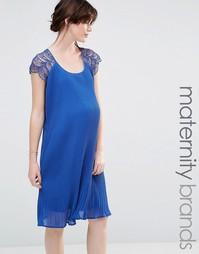 Свободное платье с кружевной отделкой Mamalicious - Синий Mama.Licious
