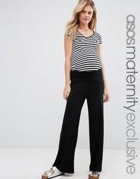 Домашние брюки с отворотом для беременных ASOS Maternity - Черный