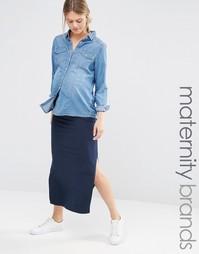 Узкая юбка макси Mamalicious - Темно-синий Mama.Licious