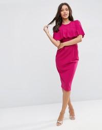 Платье-футляр с оборками на рукавах ASOS - Сливовый