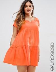 Ярусное пляжное платье с присборенной юбкой ASOS CURVE - Оранжевый