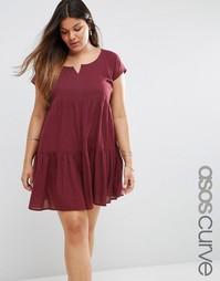 Ярусное пляжное платье с присборенной юбкой ASOS CURVE - Фиолетовый