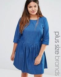 Короткое приталенное платье из шамбре Junarose - Синий