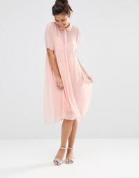 Платье-рубашка с отливом The WhitePepper - Розовый