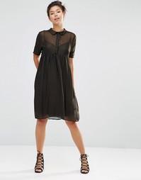 Платье-рубашка с отливом The WhitePepper - Золотой
