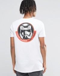 Длинная футболка с принтом Star Wars спереди и на спине ASOS - Белый