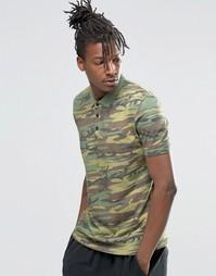 Футболка-поло с винтажным камуфляжным принтом ASOS - Зеленый