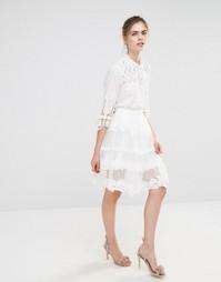 Кружевная юбка миди Endless Rose - Кремовый