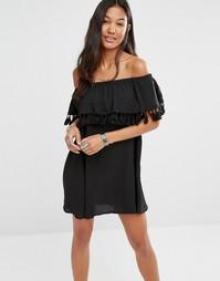 Платье с открытыми плечами и кисточками Boohoo - Черный