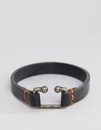 Черный кожаный браслет Boss Orange Morris - Черный