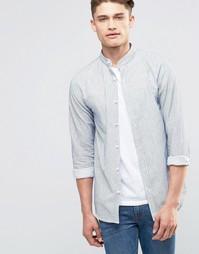 Рубашка в тонкую полоску с воротником на пуговице Selected Homme