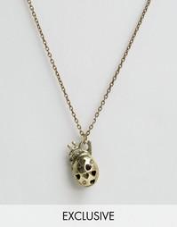 Золотистое ожерелье с анатомическим сердцем Reclaimed Vintage