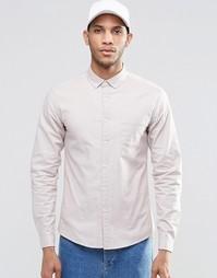 Песочная оксфордская рубашка скинни с длинными рукавами ASOS - Stone