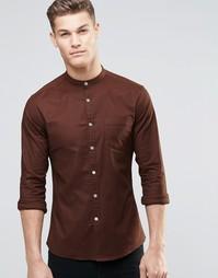 Коричневая рубашка с воротником на пуговицах и длинными рукавами ASOS
