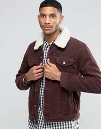 Бордовая вельветовая куртка с воротником борг ASOS - Burgundy