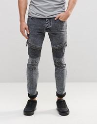 Черные байкерские джинсы с эффектом кислотной стирки Loyalty & Faith