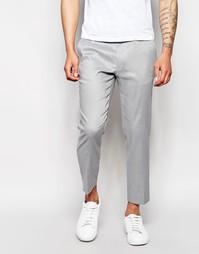 Серые зауженные укороченные брюки из льняной смеси ASOS - Серый